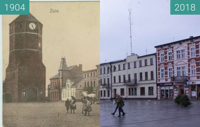 Before-and-after picture of Plac Wolności between 1904 and 02/2018