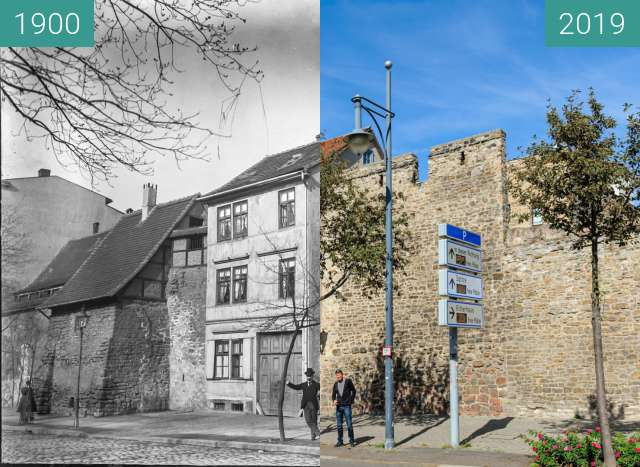 Before-and-after picture of Waisenhausring - Blick auf Stadtmauerreste between 1900 and 2019-Sep-04