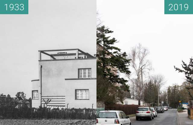 Before-and-after picture of Ulica Zbąszyńska between 1933 and 2019-Jan-12