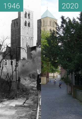 Before-and-after picture of Münster after WW2 between 1946 and 05/2020
