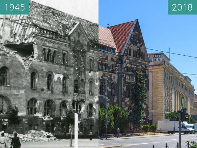 Before-and-after picture of Aleja Niepodległości between 1945 and 2018