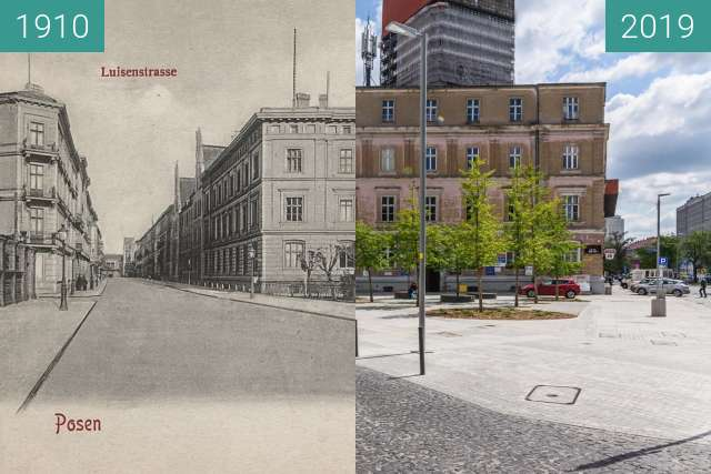 Before-and-after picture of Ulica Taczaka between 1910 and 2019