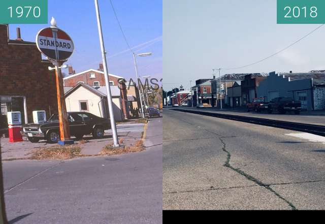 Before-and-after picture of The Tracks on 2nd Street between 1970 and 08/2018