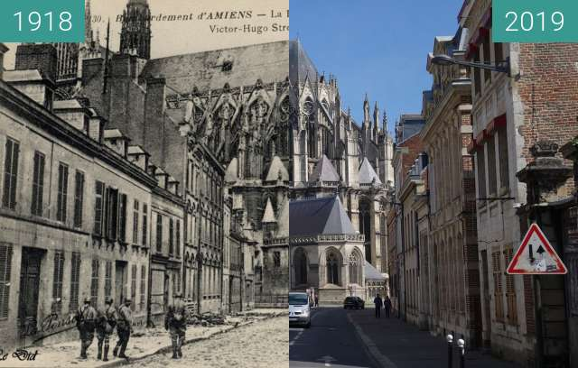 Before-and-after picture of Rue Victor Hugo between 1918 and 2019-May-13
