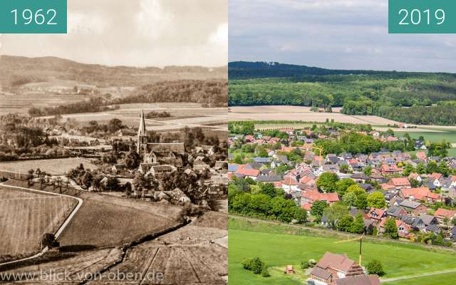 Before-and-after picture of Glane als Ortsteil von Bad Iburg between 1962 and 2019-May-15
