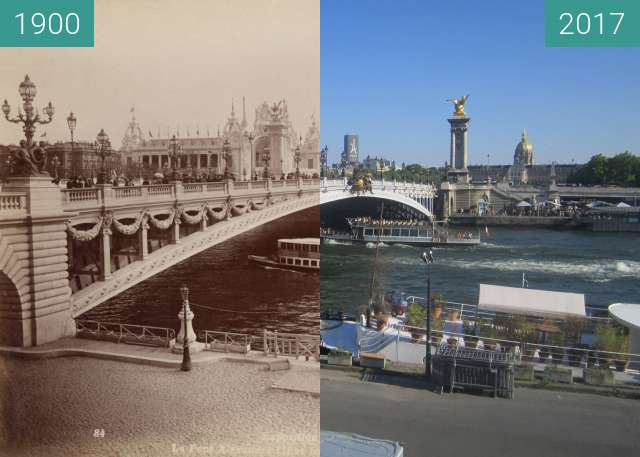 Before-and-after picture of Esplanade des Invalides (Universal Exhibition) between 1900 and 2017-Jun-18