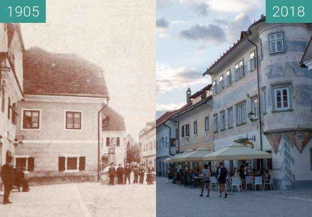 Before-and-after picture of Linhart Square and Josepina Hočevar Memorial between 1905 and 2018-Aug-15