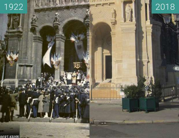 Before-and-after picture of St. Augustin between 1922-May-14 and 2018-Feb-10