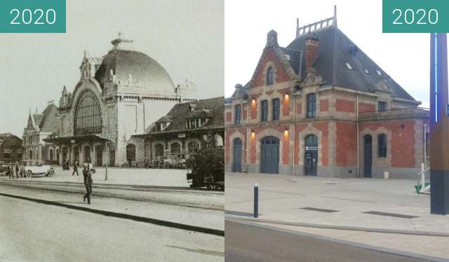 Before-and-after picture of Saint-Brieuc - La gare between 1925 and 2020-Nov-15