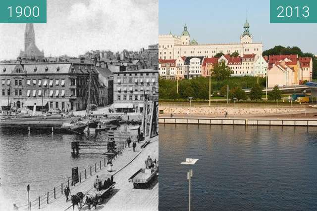 Before-and-after picture of Szczecin/Stettin - Most Kłodny/Baumbrücke between 1900 and 2013