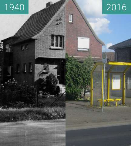 Before-and-after picture of Haus Lamersdorf between 1940 and 2016-Jul-14