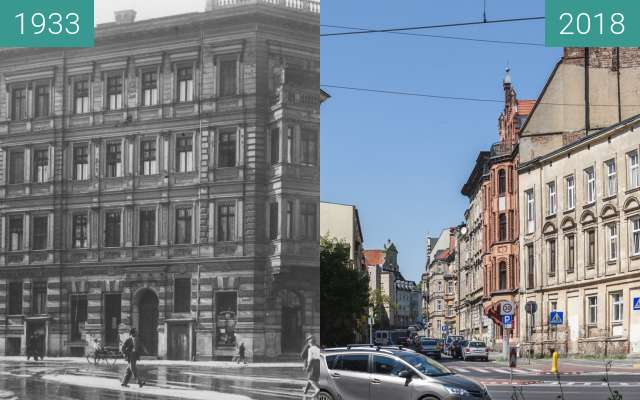 Before-and-after picture of Ulica Św. Wojciech between 1933 and 2018