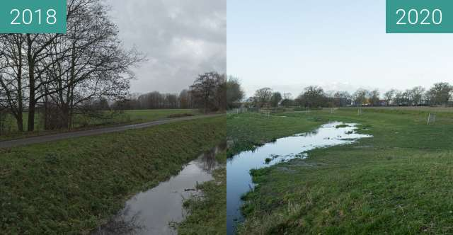 """Before-and-after picture of Brook Improvement """"Rode Beek"""" between 2018-Dec-09 and 2020-Jan-18"""