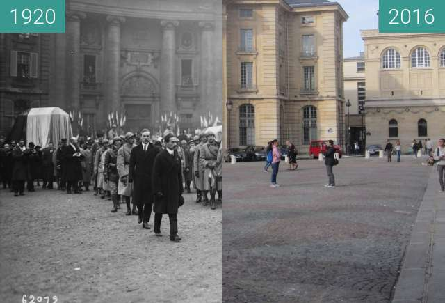 Before-and-after picture of Place du Panthéon between 1920-Nov-11 and 2016-Sep-25