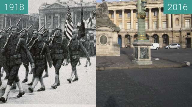 Before-and-after picture of Place de la Concorde between 1918-Jul-04 and 2016-Jan-04