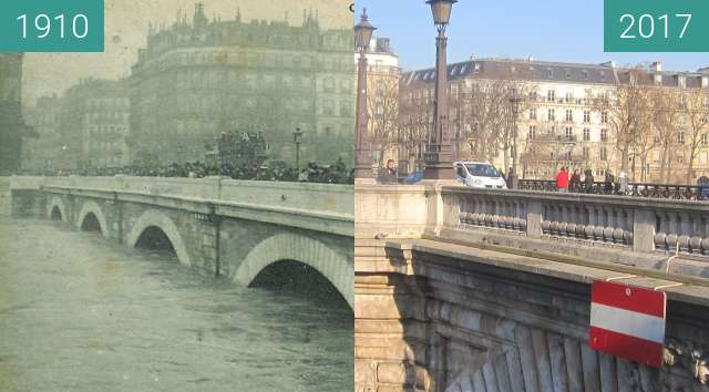 Before-and-after picture of Pont Notre-Dame (Great Flood) between 1910-Jan-27 and 2017-Jan-19