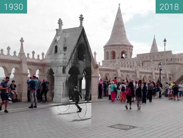 Before-and-after picture of Children at Fishermans Bastion 1930 between 1930 and 2018-Aug-27