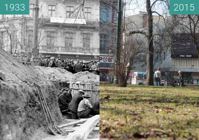 Before-and-after picture of Moving a tree between 1933 and 2015