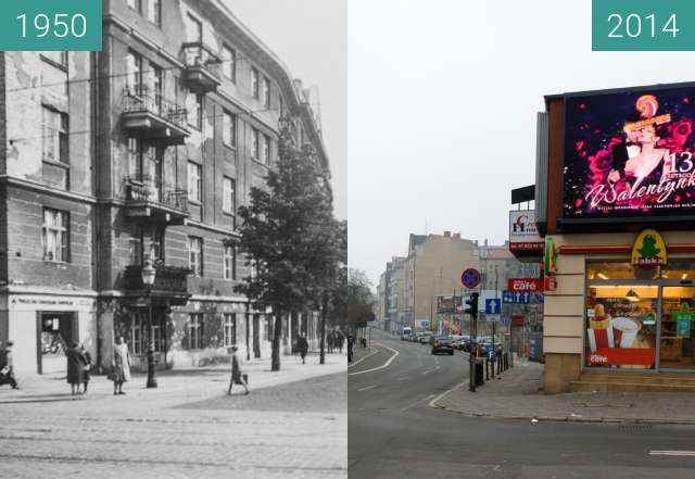 Before-and-after picture of Ulica Krakowska between 1950-Aug-12 and 2014-Aug-12