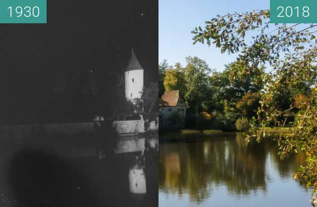 Before-and-after picture of Dinkelsbühl - Faulturm mit Parkwächterhäuschen between 1930 and 2018-Oct-05