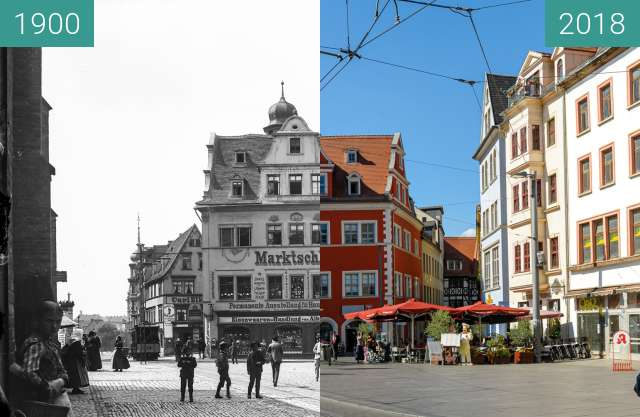 Before-and-after picture of Marktschlößchen between 1900 and 2018-Sep-12