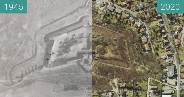 Before-and-after picture of Fort IX Brünneck w Poznaniu between 1945 and 2020-Apr-05