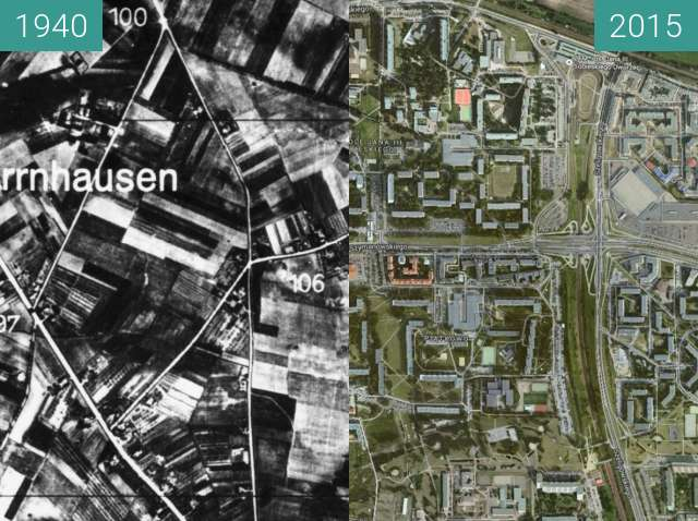 Before-and-after picture of Bird's view of Piatkowo between 1940-Dec-20 and 2015-Dec-20