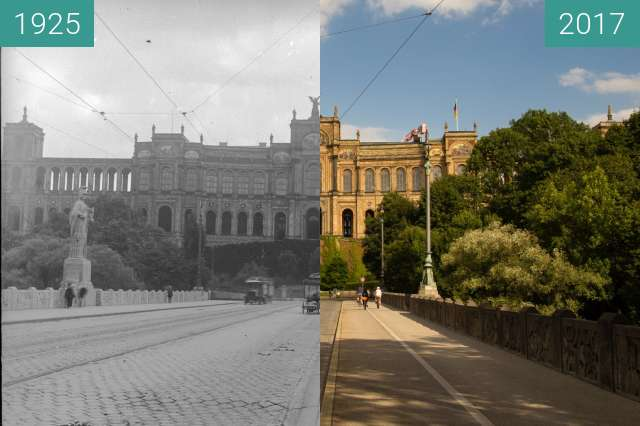 Before-and-after picture of Maximilianeum München between 1925 and 2017-Aug-05