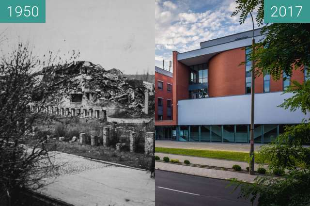 Before-and-after picture of Ulica Kutrzeby between 1950-Aug-20 and 2017-Jul-18