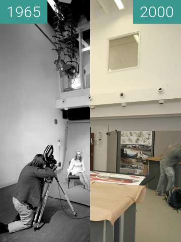 Before-and-after picture of Lanchester Polytechnic studio between 1965 and 2000