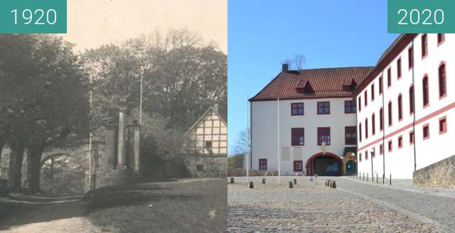 Before-and-after picture of Schloß Iburg between 1920 and 2020-Apr-04
