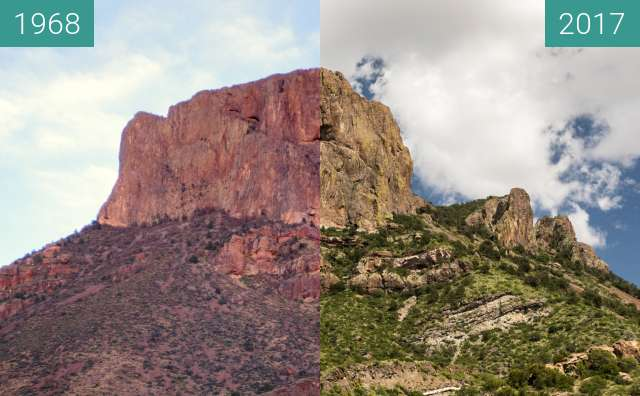 Before-and-after picture of Casa Grande from Chisos Basin between 1968 and 2017-Jul-30