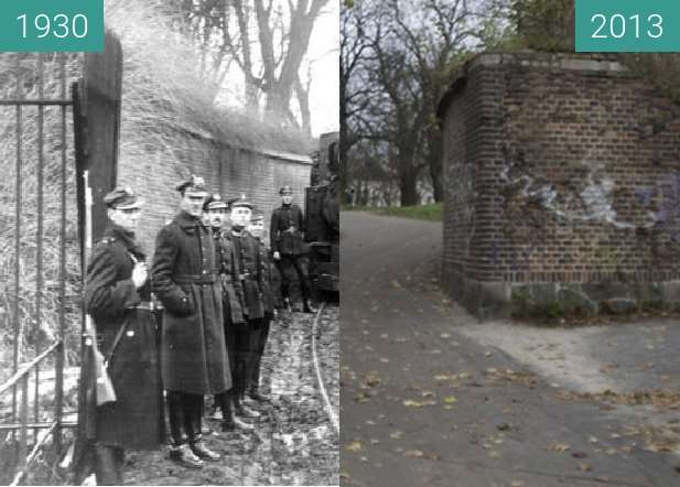 Before-and-after picture of Brama Polna poznańskiego Fortu Winiary between 1930 and 2013