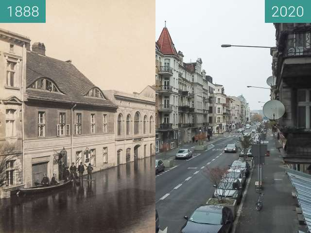 Before-and-after picture of Ulica Garbary between 1888-Mar-30 and 2020-Nov-01
