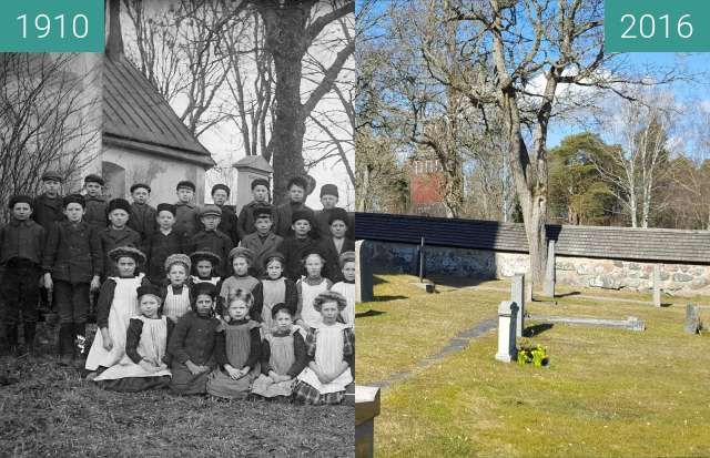 Before-and-after picture of East side of Knutby church between 1910 and 2016-Mar-28