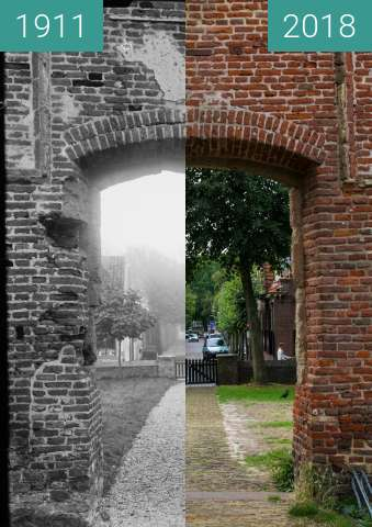 Before-and-after picture of Bergen (North Holland) through the 'Ruin Church' between 1911 and 2018-Aug-15
