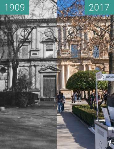 Before-and-after picture of Westside of the Palacio de Carlos V in Alhambra between 1909 and 2017-Jan-31