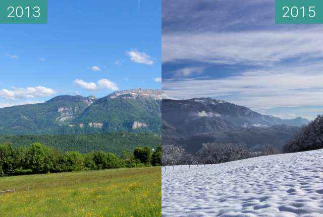 Before-and-after picture of La Grande Sure - été vs hiver between 12/2013 and 06/2015