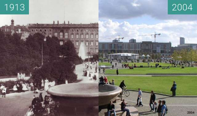Before-and-after picture of Berlin Lustgarten 1913/2004 between 1913 and 2004