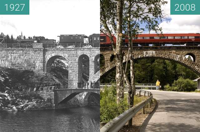 Before-and-after picture of Kjeåsen Railway Bridge between 1927 and 2008