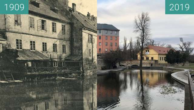 Before-and-after picture of Plzeň - Mlýnská strouha between 1909 and 2019-Mar-07