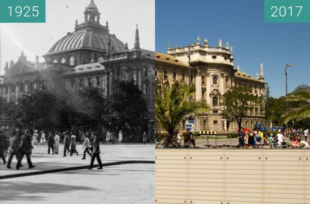 Before-and-after picture of Justizpalast München between 1925 and 2017-Aug-05