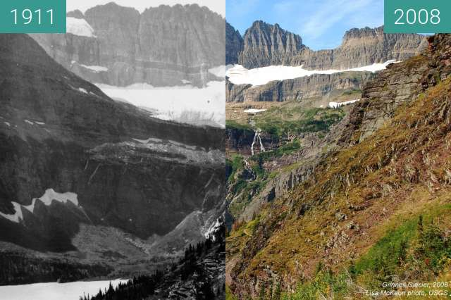 Before-and-after picture of Grinnel Glacier between 1911 and 2008-Sep-11