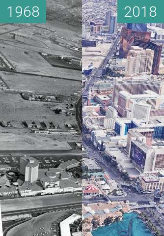Before-and-after picture of Las Vegas Boulevard and Flamingo Road 1968 between 1968 and 2018