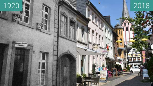 Before-and-after picture of Kempen, Peterstraße between 1920 and 2018-Jul-12