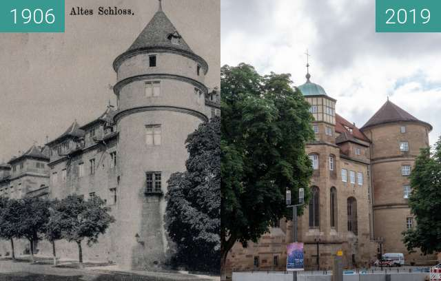 Before-and-after picture of Stuttgart - Altes Schloss between 1906 and 2019-Jun-23