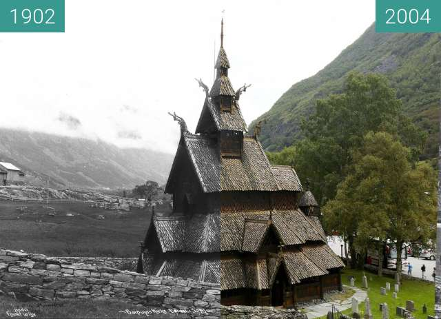 Before-and-after picture of Borgund Stave Church between 1902 and 2004