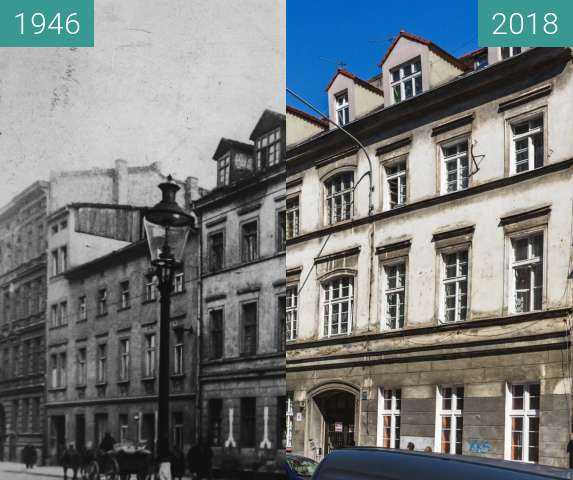 Before-and-after picture of Ulica Garbary between 1946 and 2018