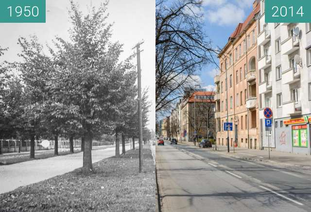 Before-and-after picture of Ulica Królowej Jadwigi between 1950 and 2014