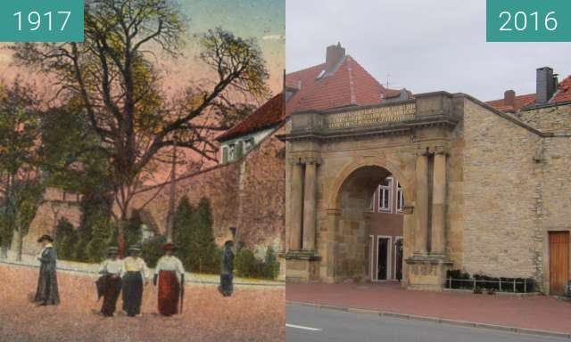 Before-and-after picture of Heger Tor between 1917 and 2016-Feb-07